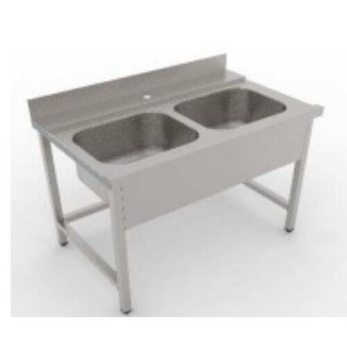 Rozsdamentes 2 medencés bevezető asztal hátsó felhajtással   Flexibilis kézi zuhany 2 gombos csapteleppel, rozsdamentes zsírfogóval