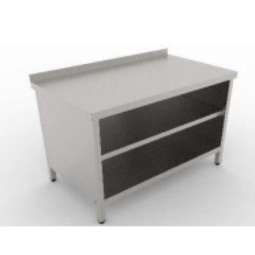 Rozsdamentes tároló asztal köztes és alsó polccal, 2 szintes átadópolccal
